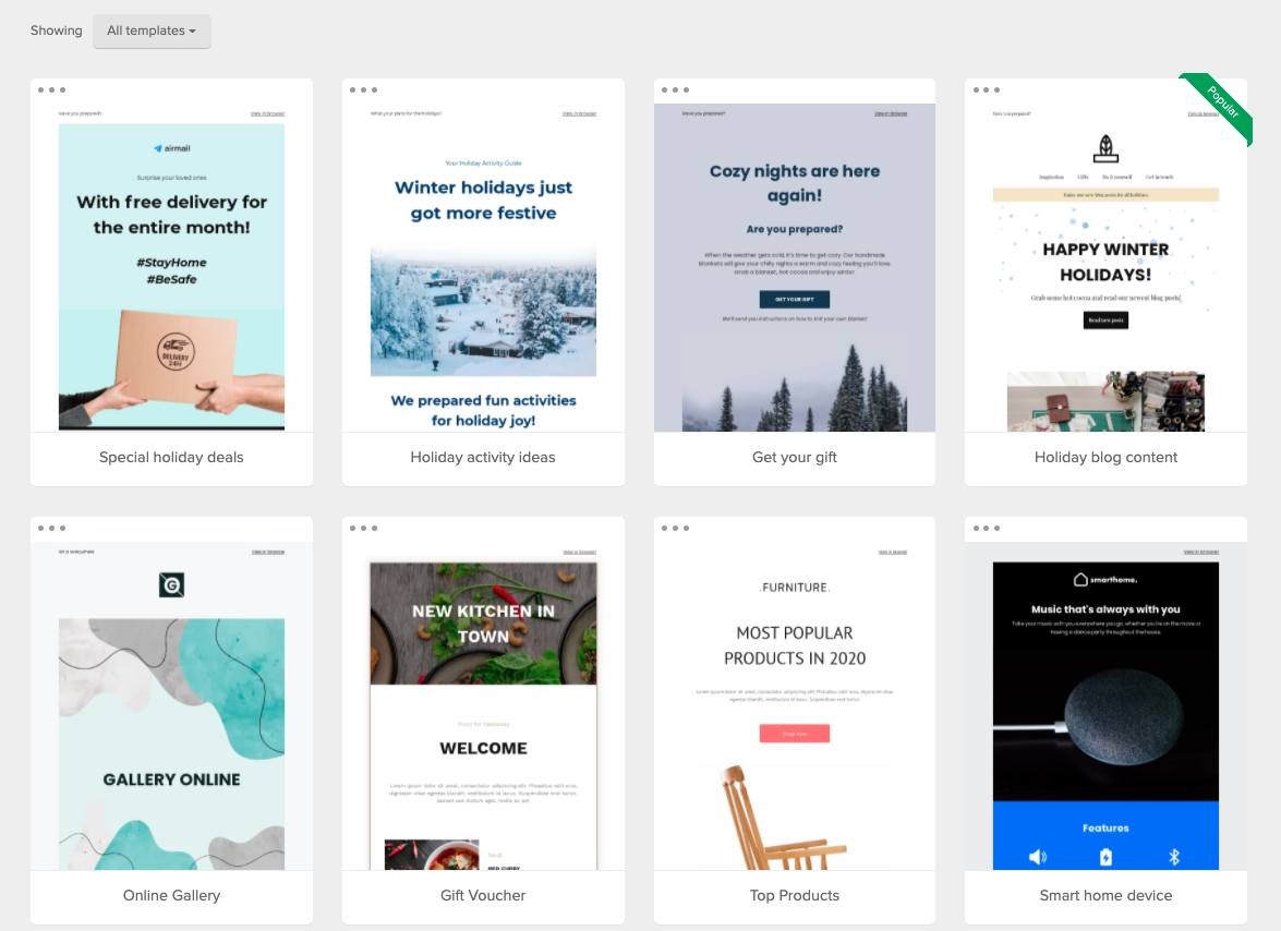 MailerLite email templates gallery.