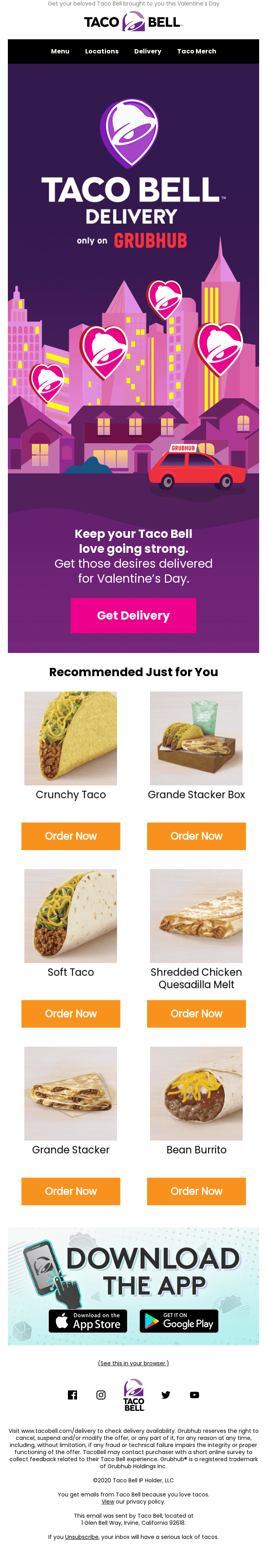 Taco Bell's Valentine's Day email.