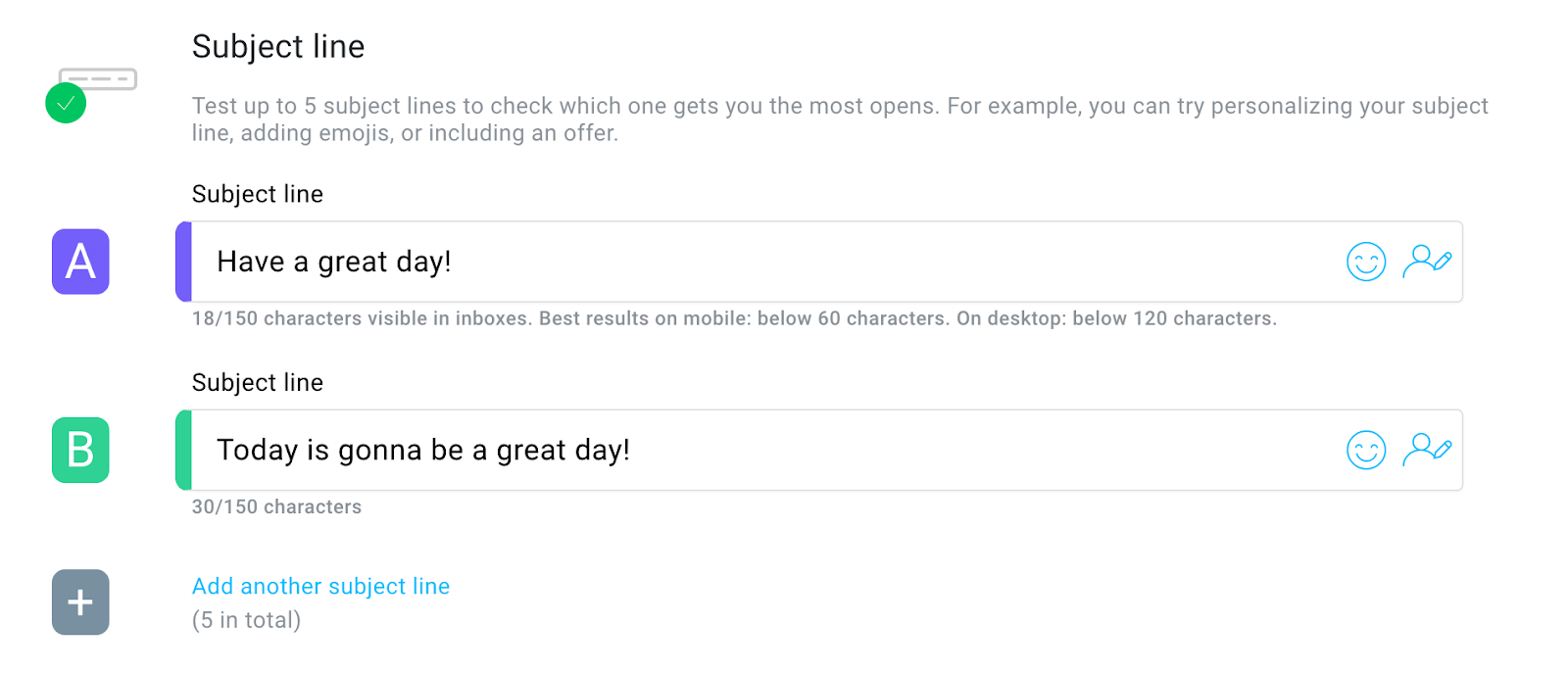 An example of A/B headline testing using GetResponse