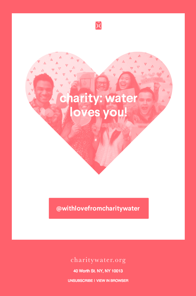 Valentine's Day ecard from a non-profit organization.