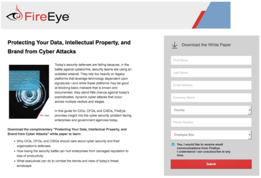 FireEye landing page on protecting your data, intellectual property, and brand from cyber attacks.