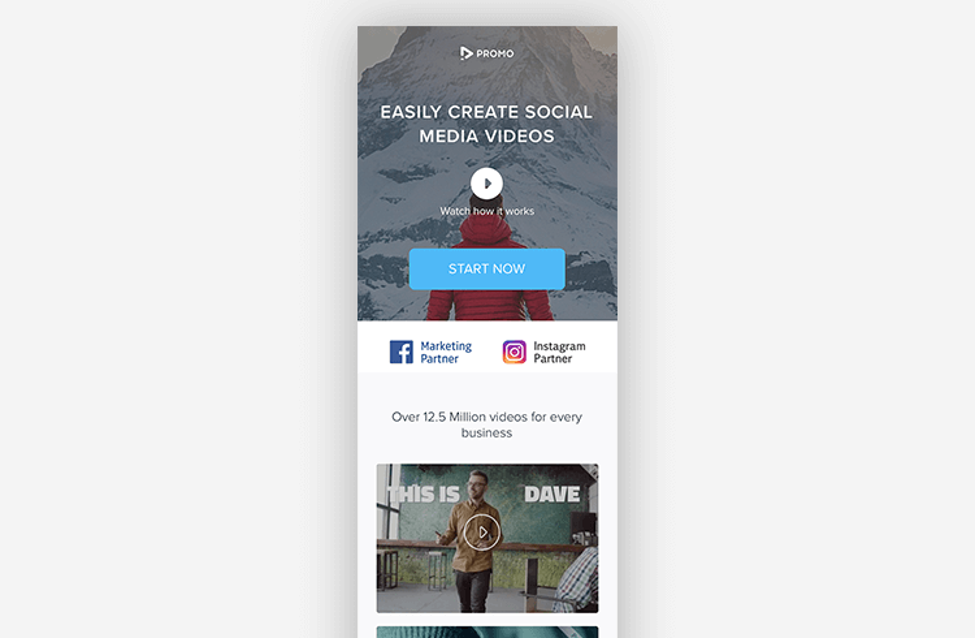Simple landing page from Promo featuring beautiful video content.