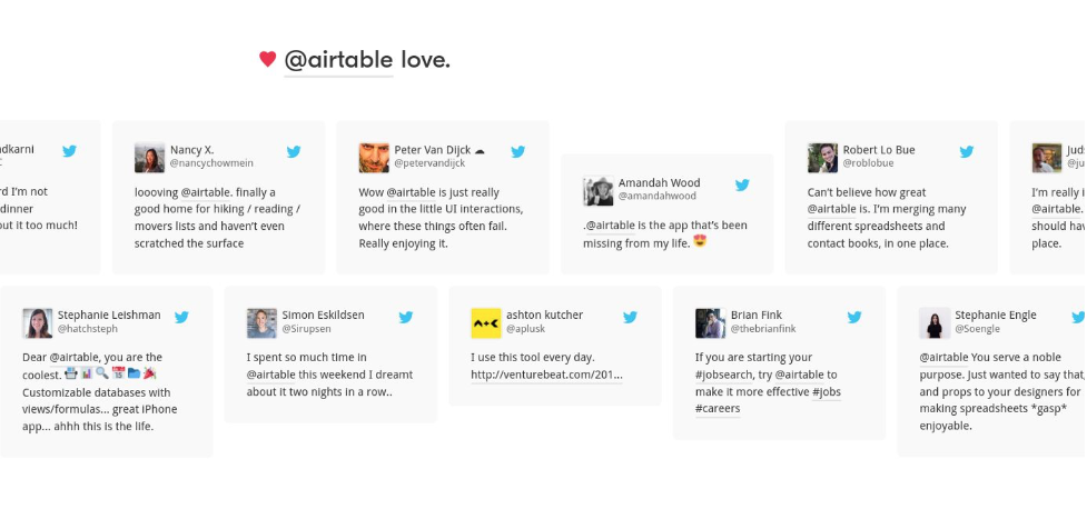 Airtable using Tweets as social proof on their lead generation landing page.