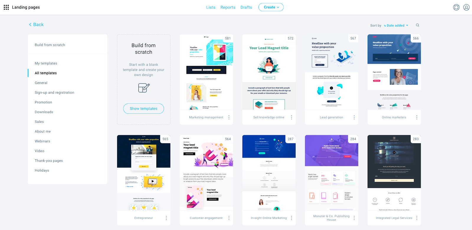 The landing page template library in GetResponse.