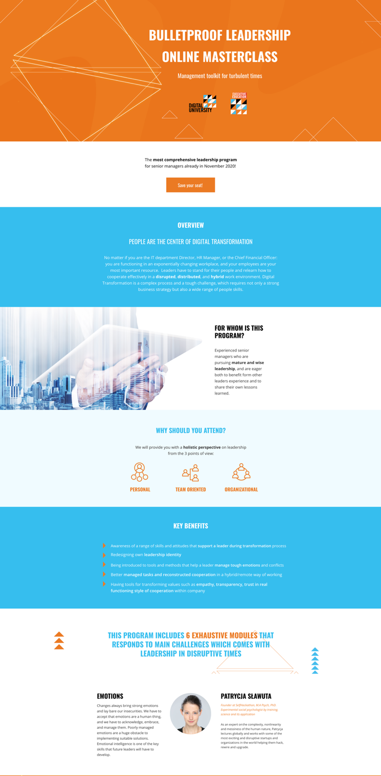 A promotional landing page with a neatly organized structure.