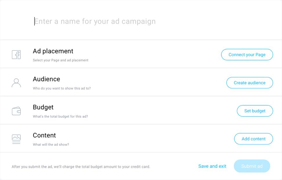 Screenshot of GetResponse Facebook Ads tool.