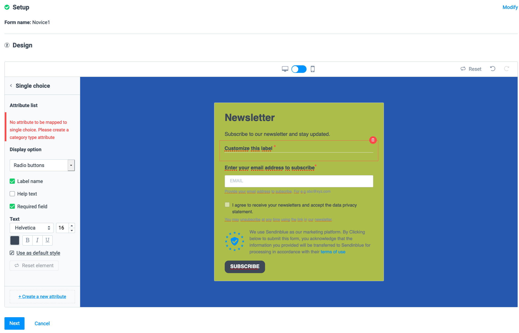 редактор форм подписки в Sendinblue