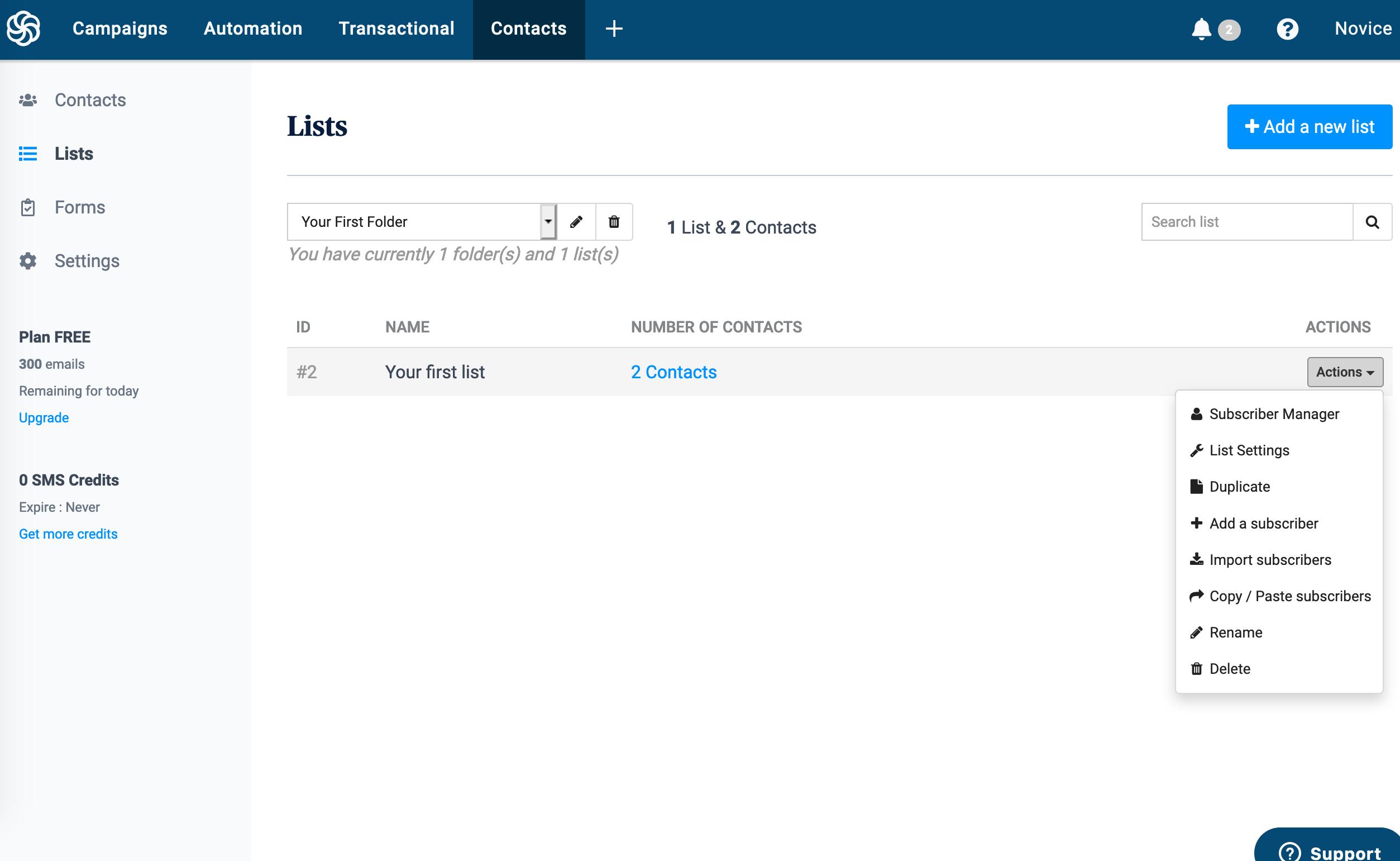панель управления списками контактов в Sendinblue
