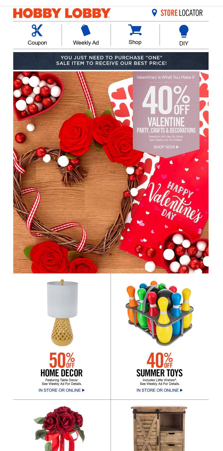пример рассылки ко Дню святого Валентина от Hobby Lobby