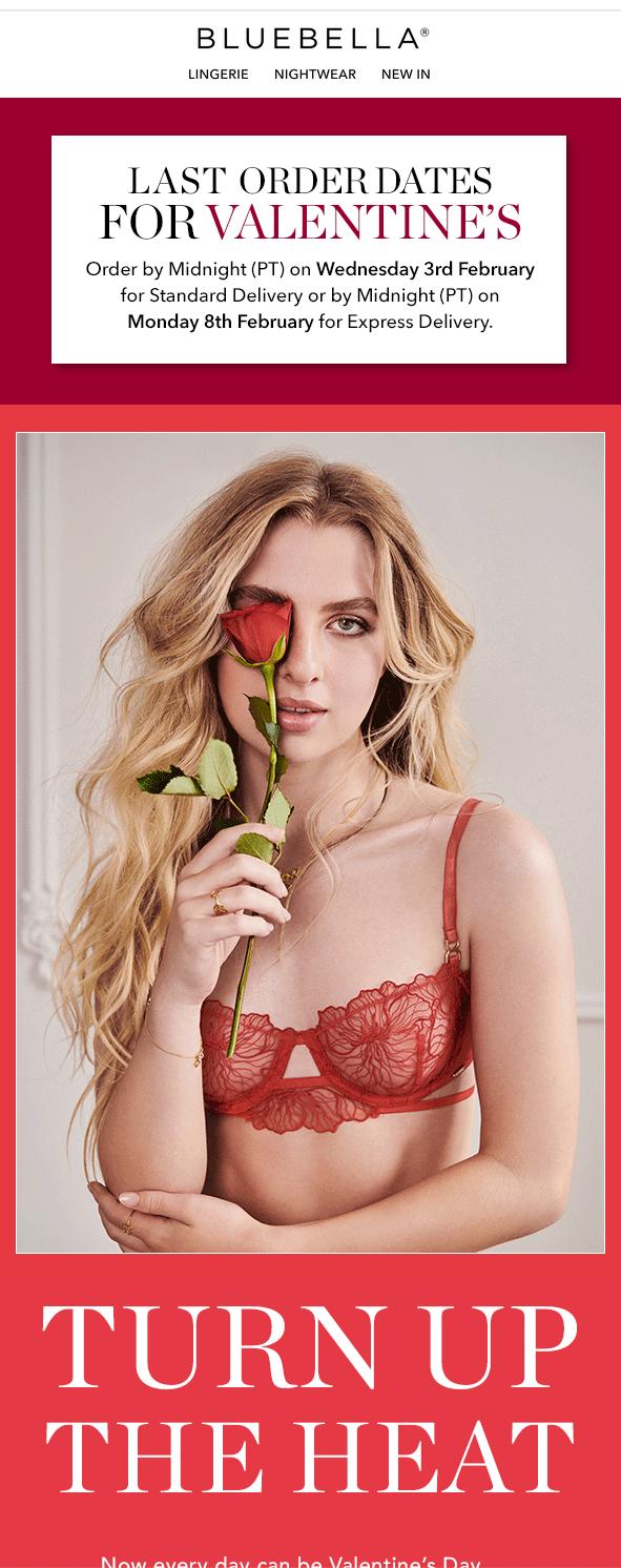 пример рассылки ко Дню святого Валентина от Bluebella