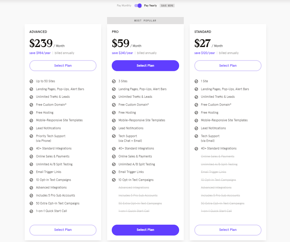 Leadpages pricing.