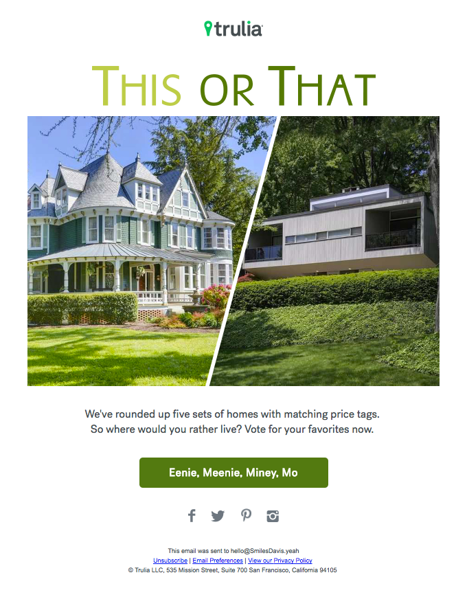 Example of a real estate newsletter designed according to the inverted pyramid layout
