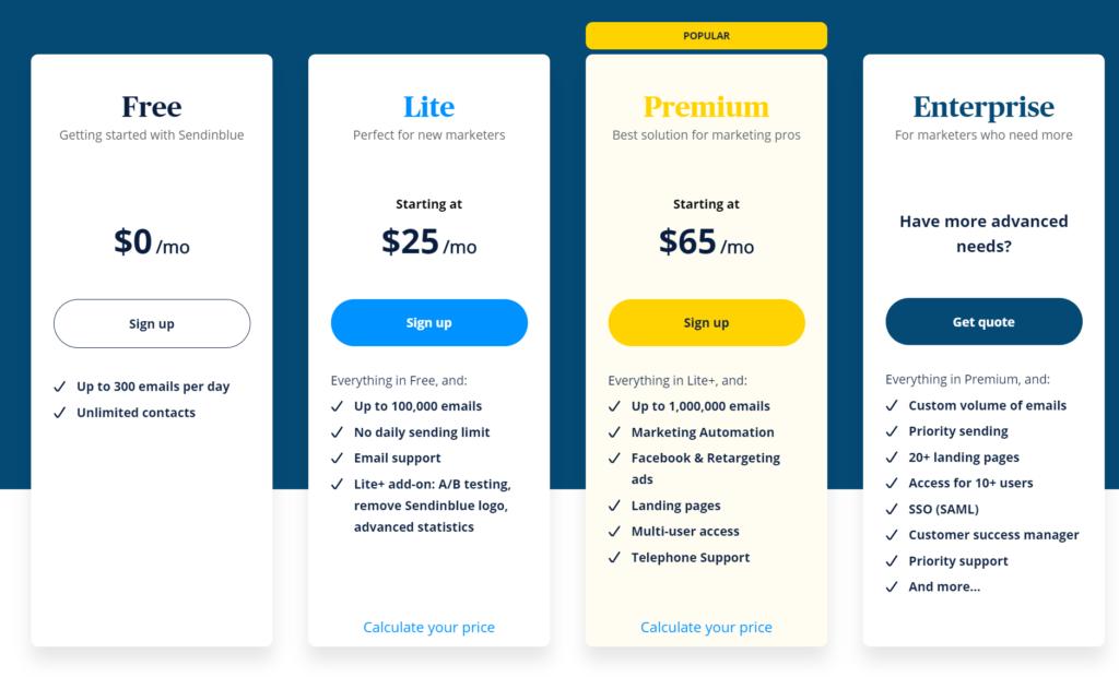 Sendinblue costi e prezzi