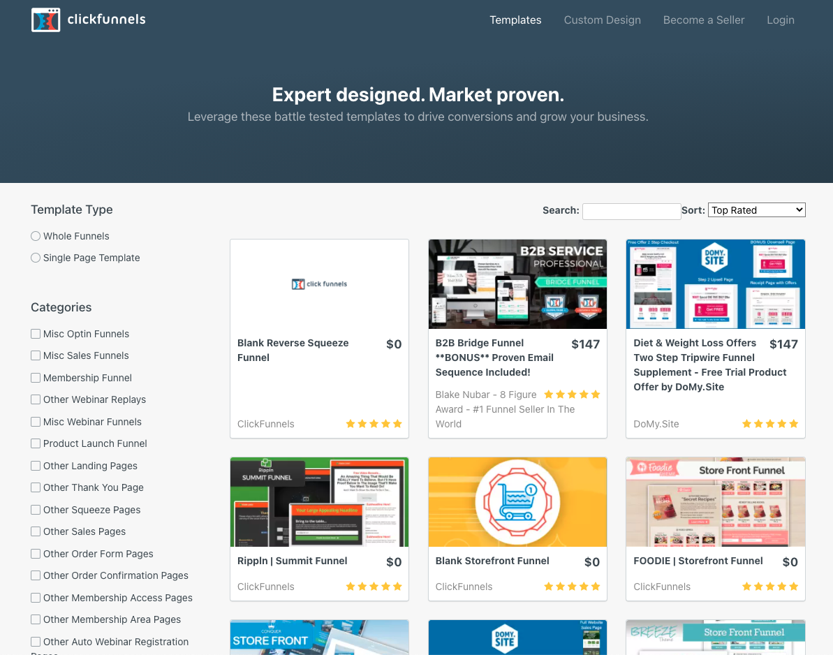 ClickFunnels marketplace for various templates.