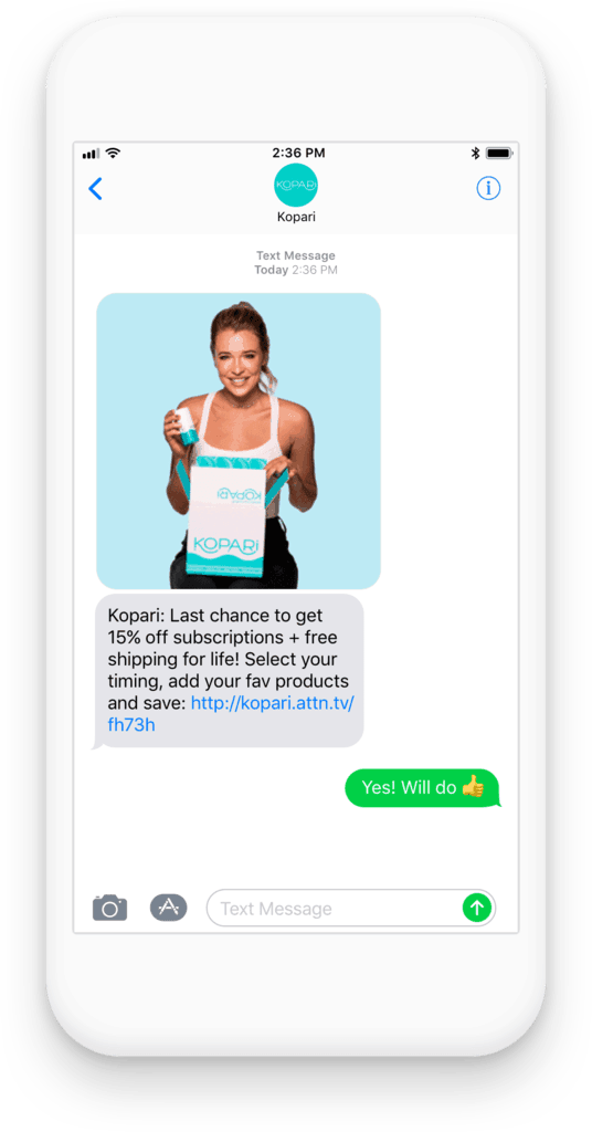 Ecommerce SMS campaign example using a discount code from Kopari.