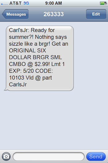 SMS marketing campaign example Carl's Jr.