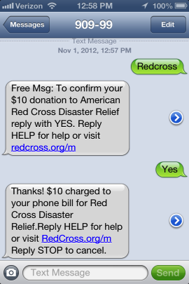 American Red Cross SMS campaign -message example.