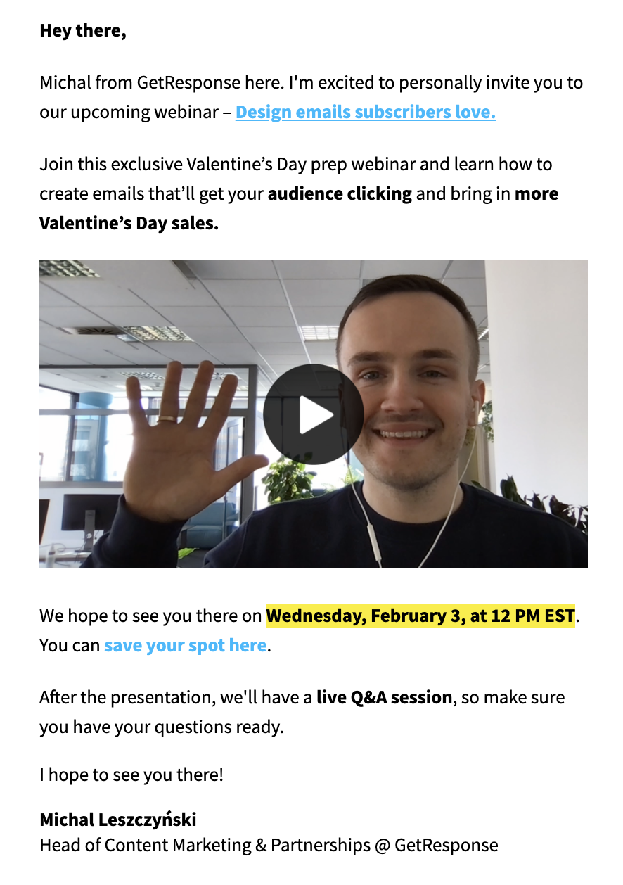 Webinar invitation email featuring a video.