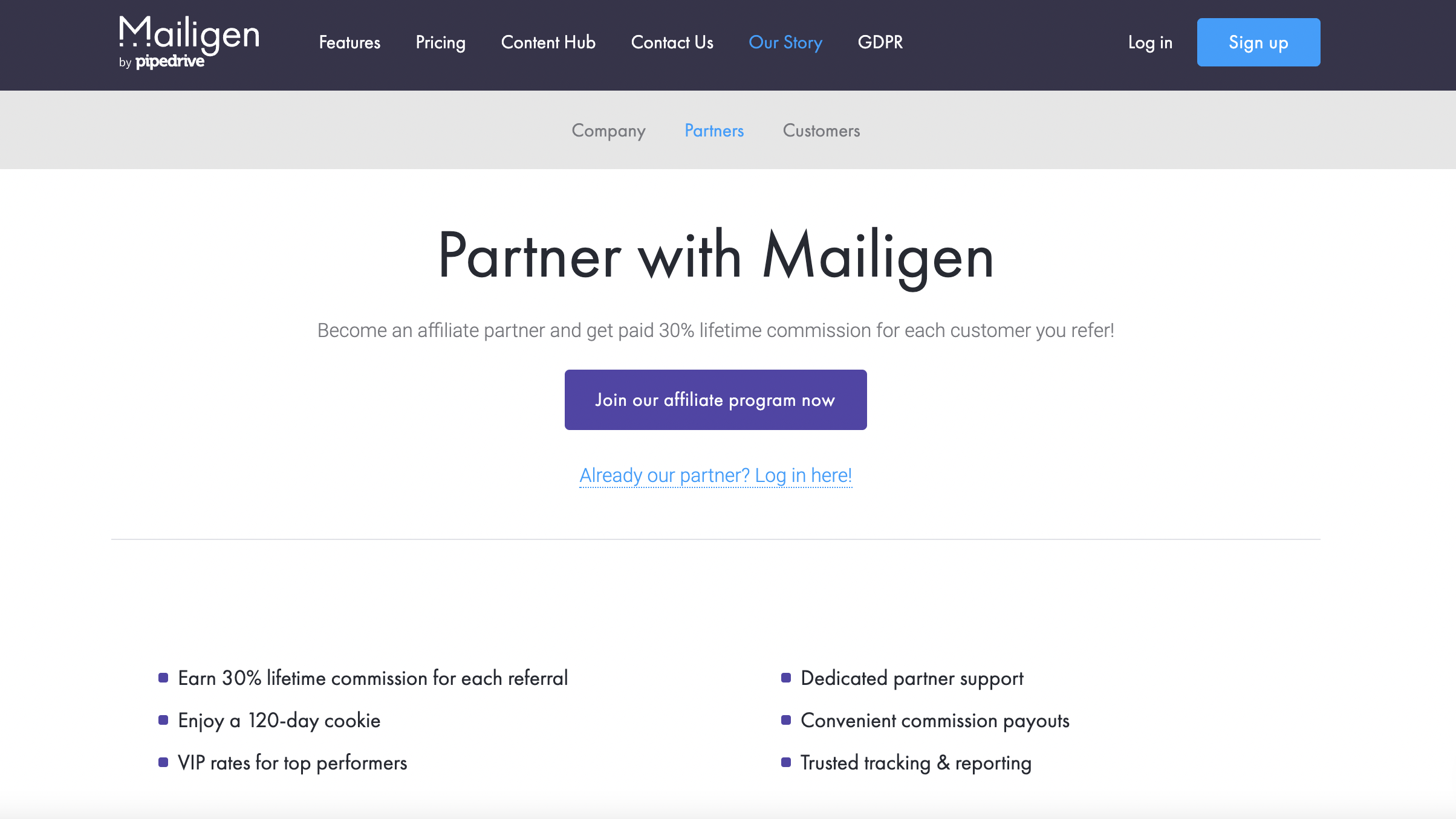 Partner program page from Mailigen.
