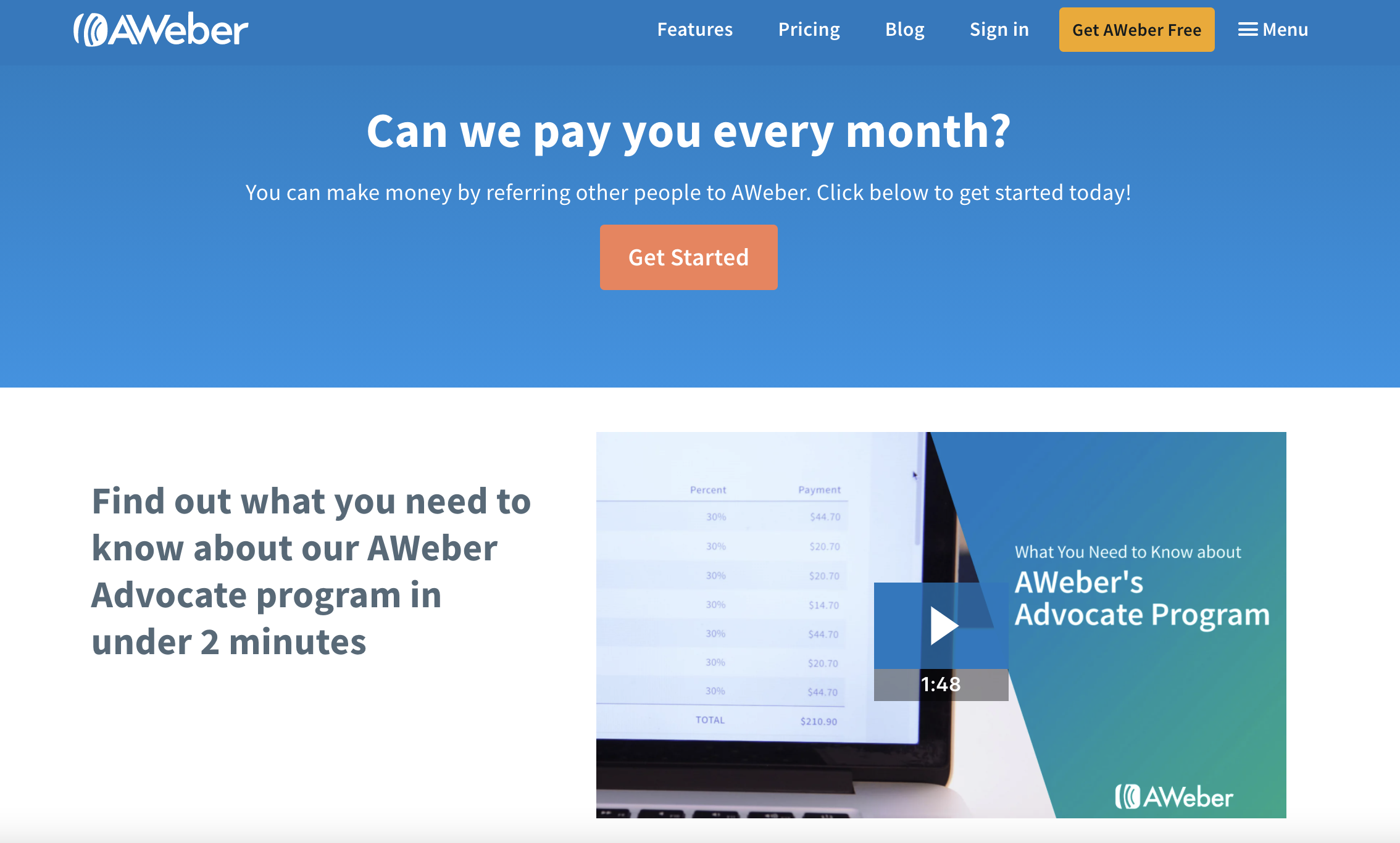 Affiliate program page from AWeber.
