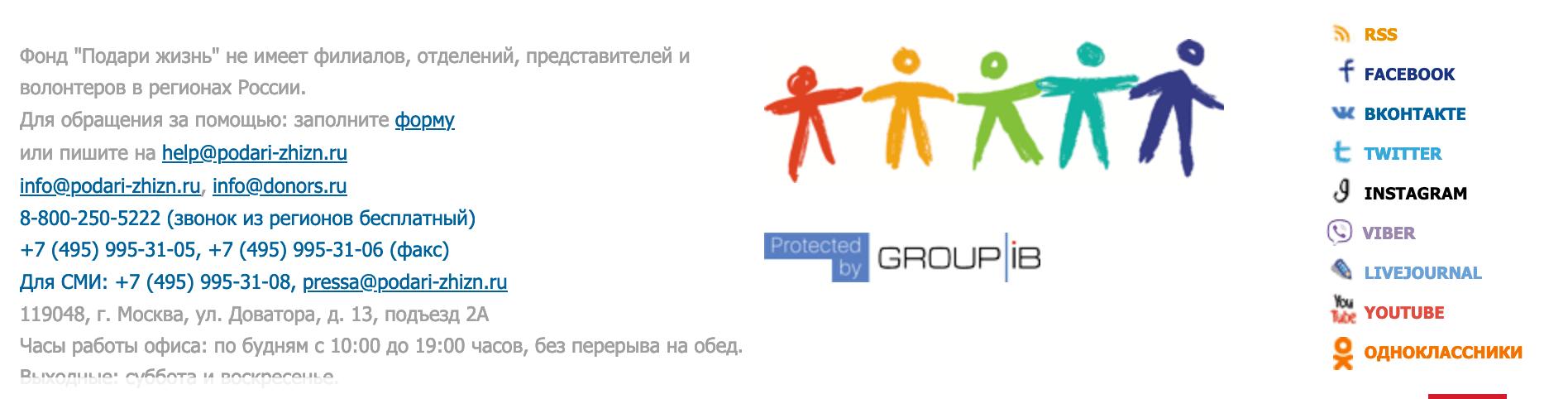 кнопки соцсетей на сайте благотворительного фонда