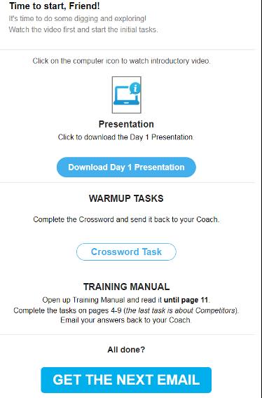 пример автоматизированного письма о тренинге GetResponse