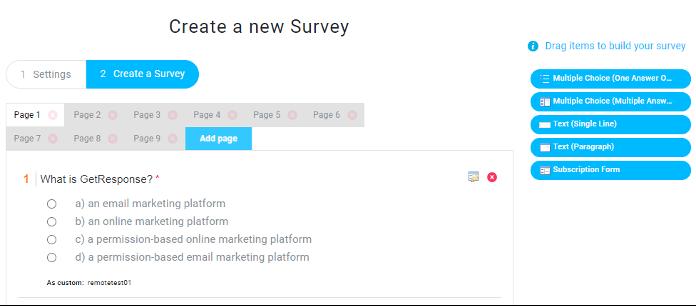 опрос в форме теста для проверки знаний сотрудников GetResponse