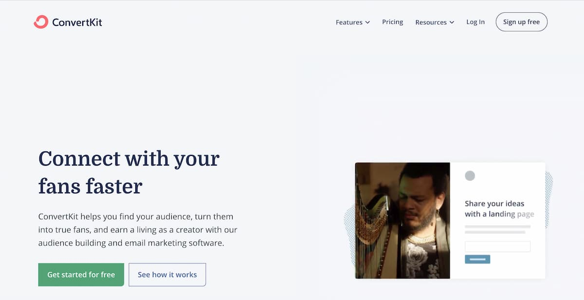 ConvertKit homepage.