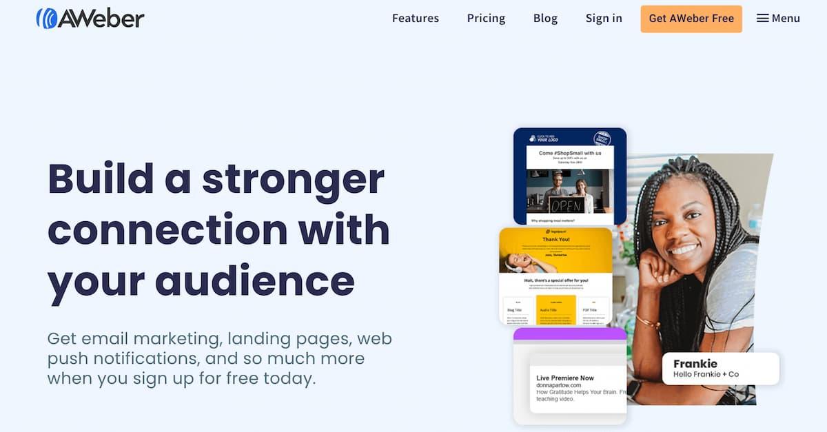 AWeber homepage.