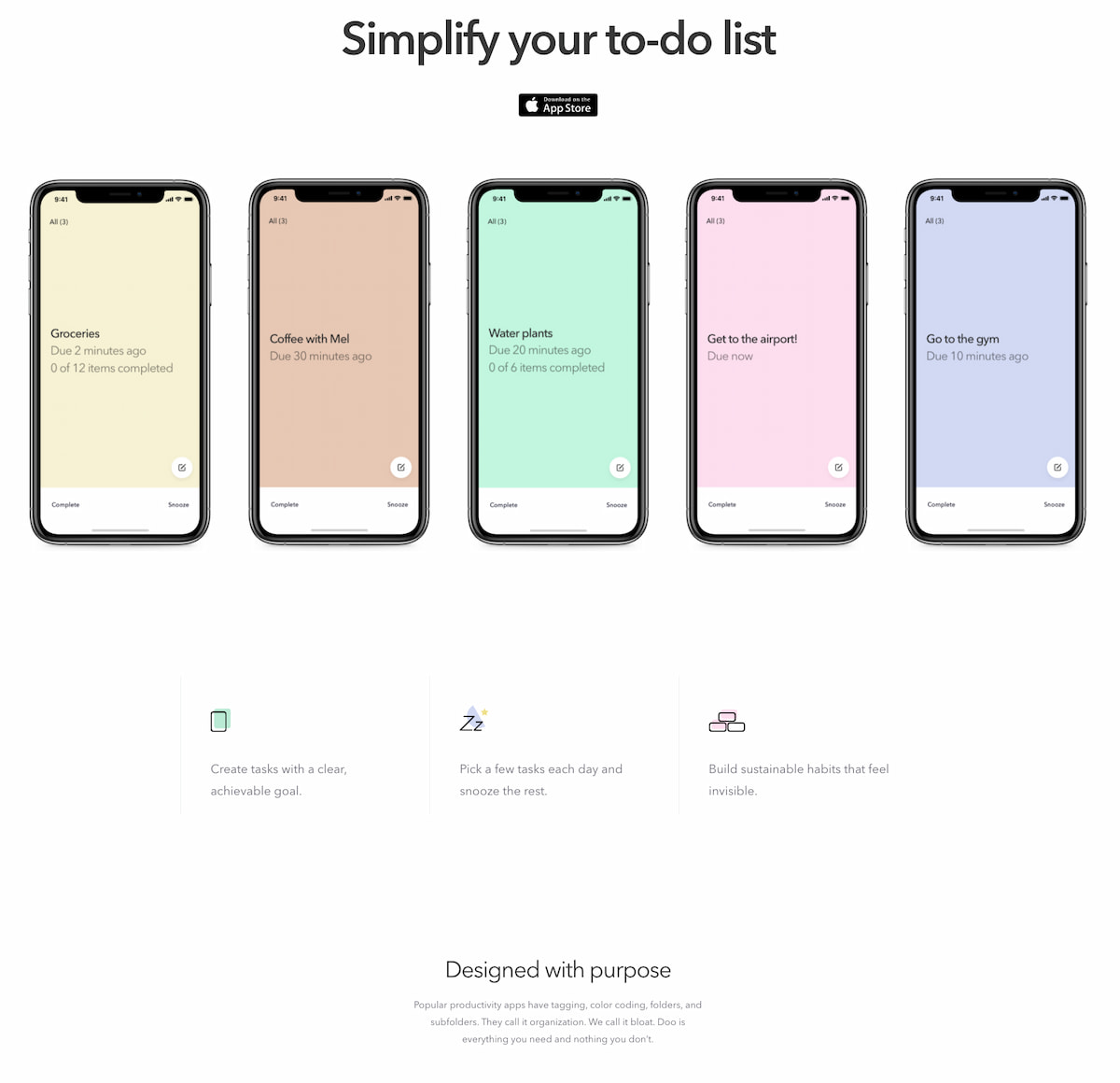 Getdoapp landing page example with succinct copy and clean visuals.