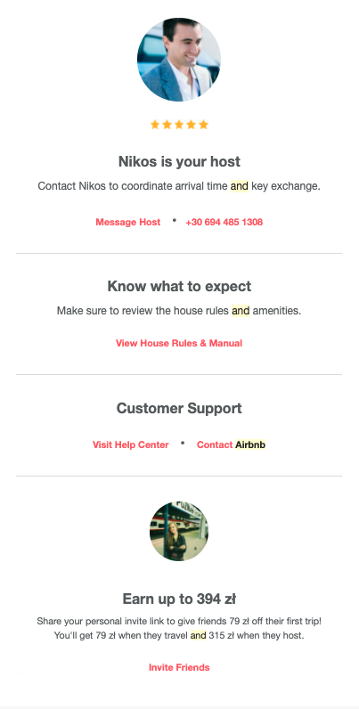 Example of a confirmation email from Airbnb - part 2.