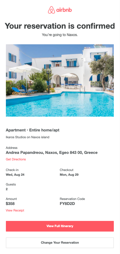 Example of a confirmation email from Airbnb - part 1.