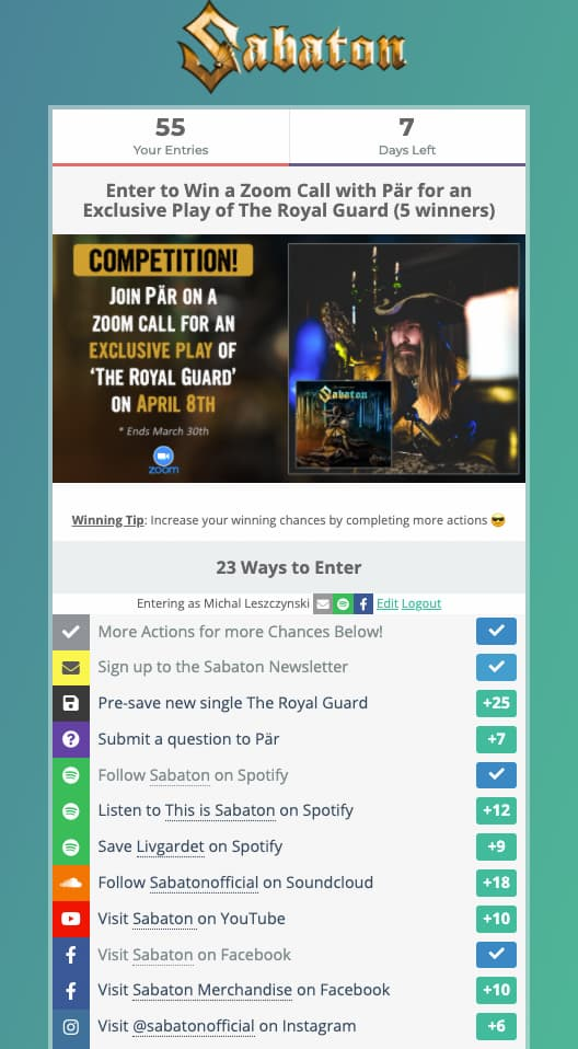 Sabaton's giveaway contest where one of the action's you can make is to opt in to their email list