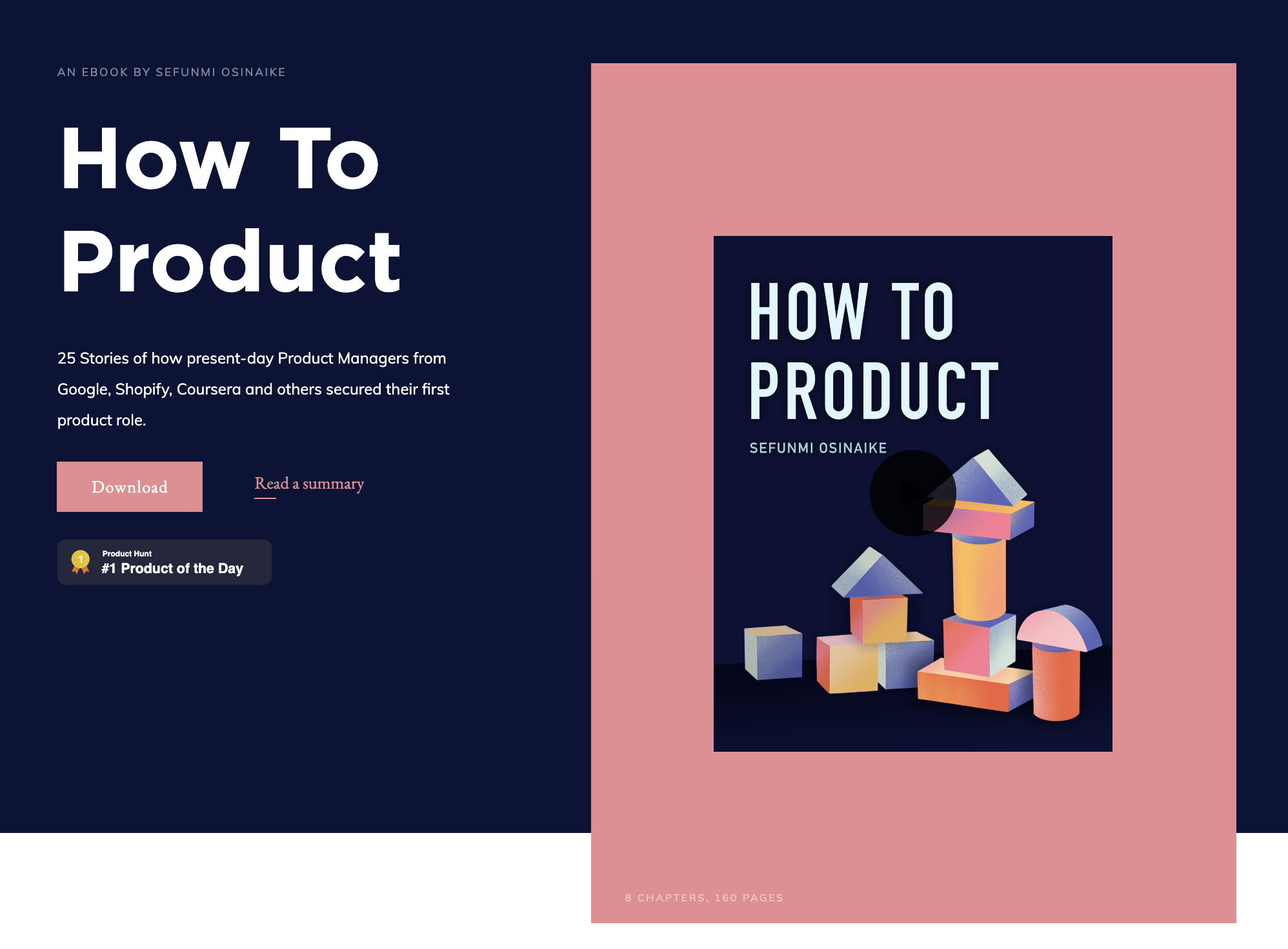 How To Product ebook landing page -  credibility coming from 25 present-day product managers who contributed to the piece of content.