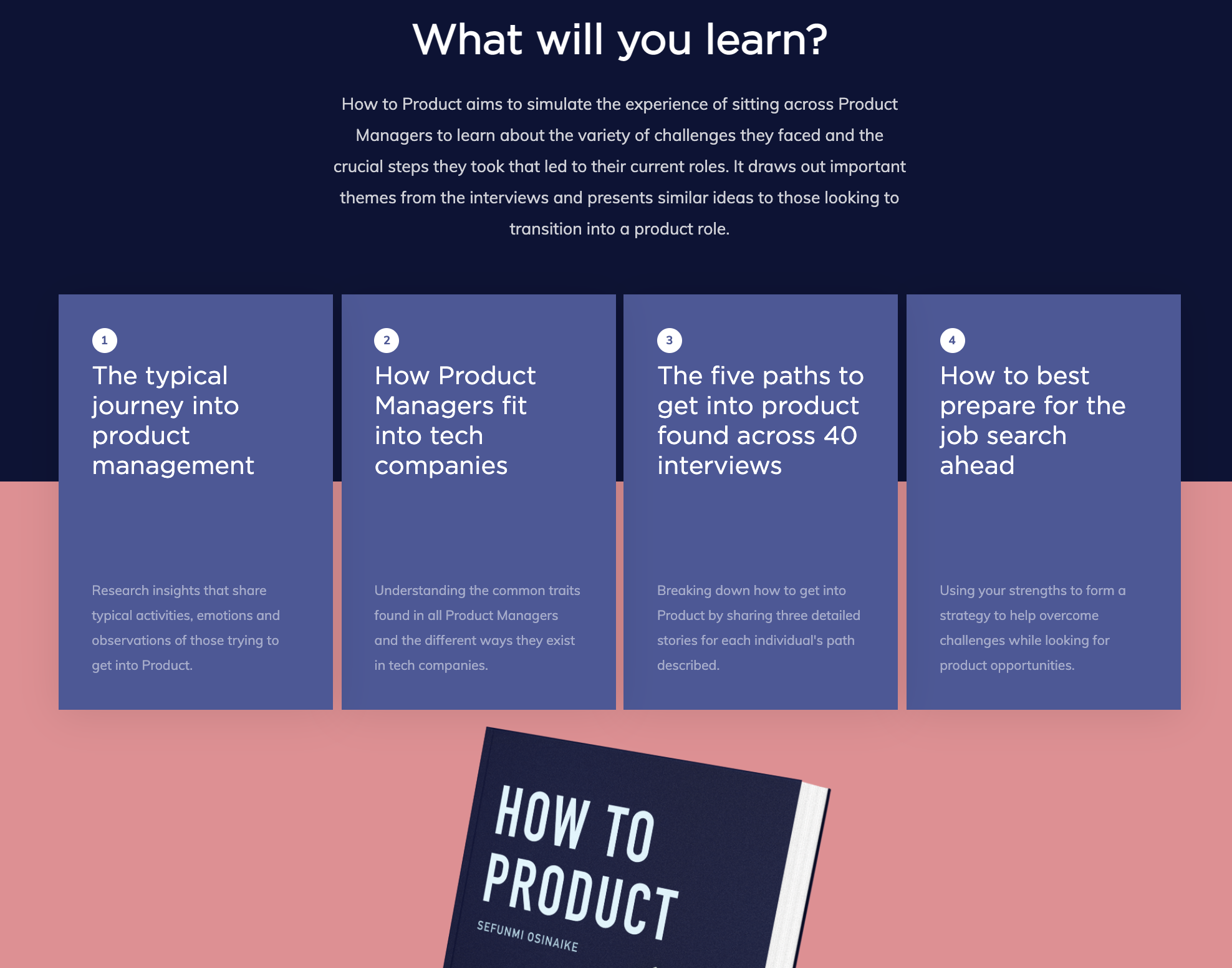 How To Product ebook landing page -  part highlighting what you'll learn.