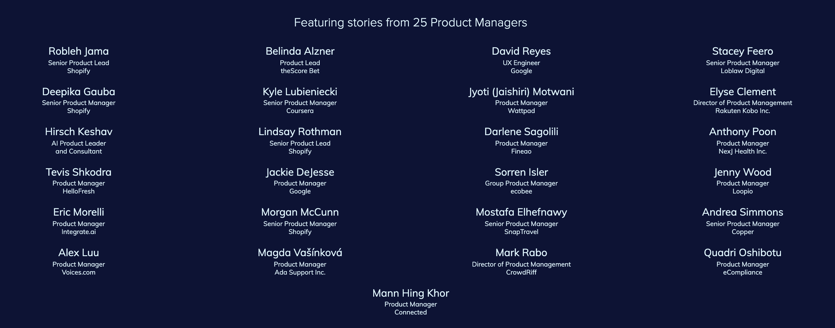 Landing page section featuring the ebook contributors.