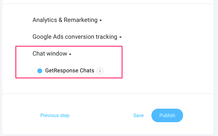 Adding chats to your GetResponse landing pages.