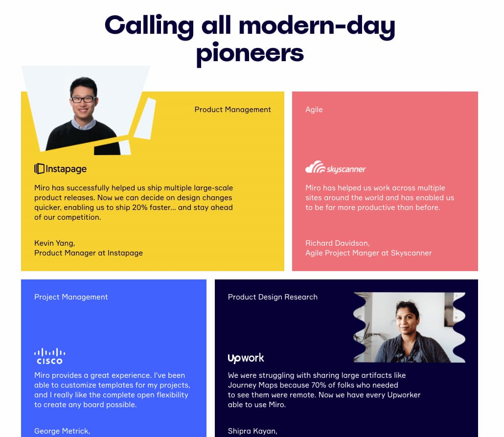 Miro landing page featuring testimonials from top brands.