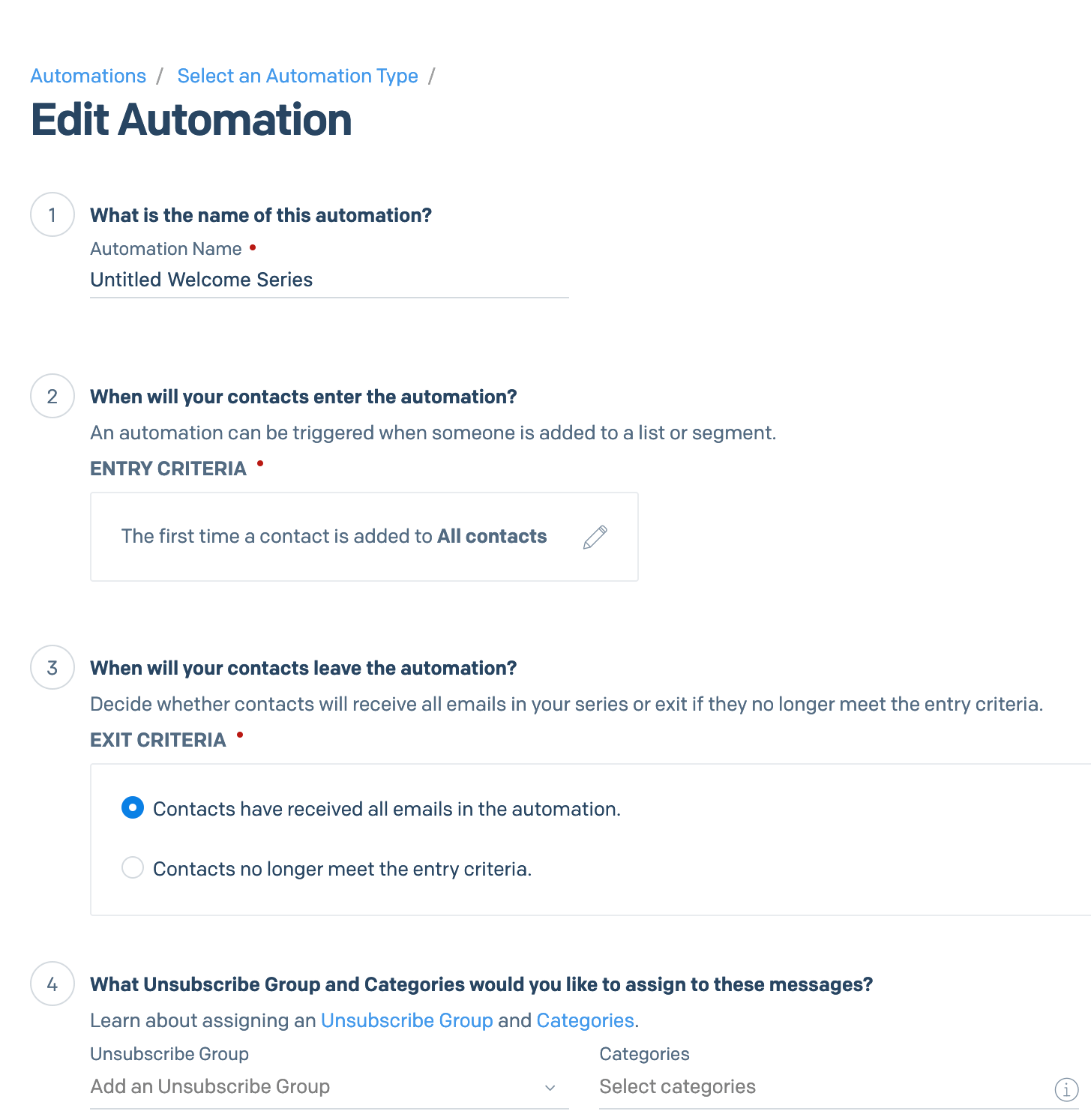 настройка параметров автоматизации Sendgrid