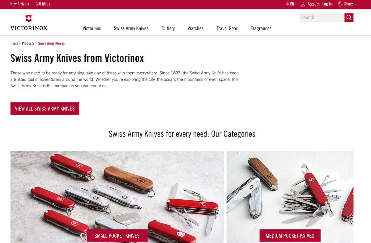 Example of an ecommerce brand homepage.