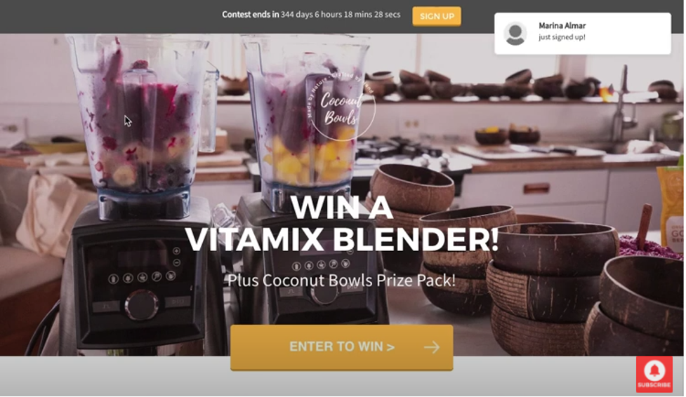 Example of a landing page featuring a giveaway contest from Coconut Bowls.
