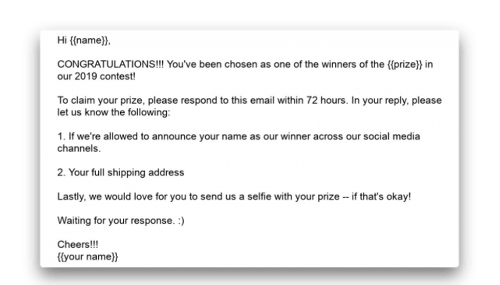 Example of a followup email you could send to those who win in your contest.