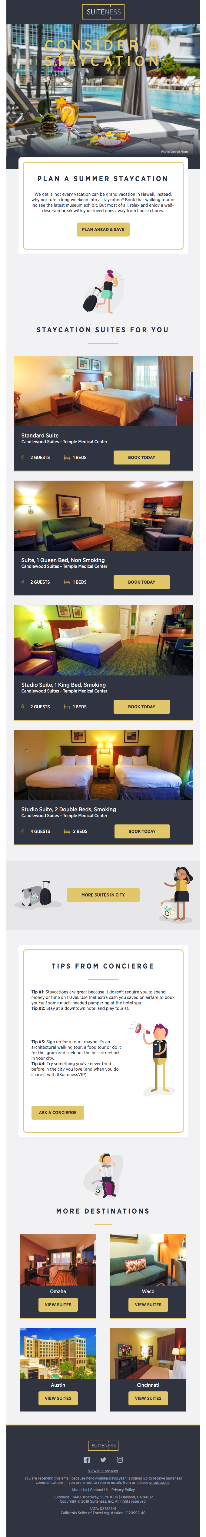 Personalized newsletter from Suiteness showing different suites based on user location.