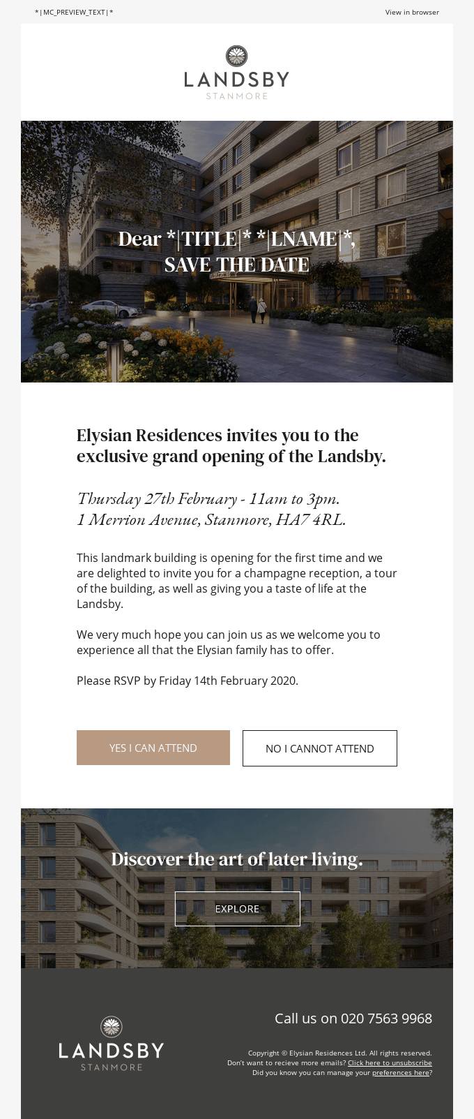 Personalized email announcing a new hotel opening.