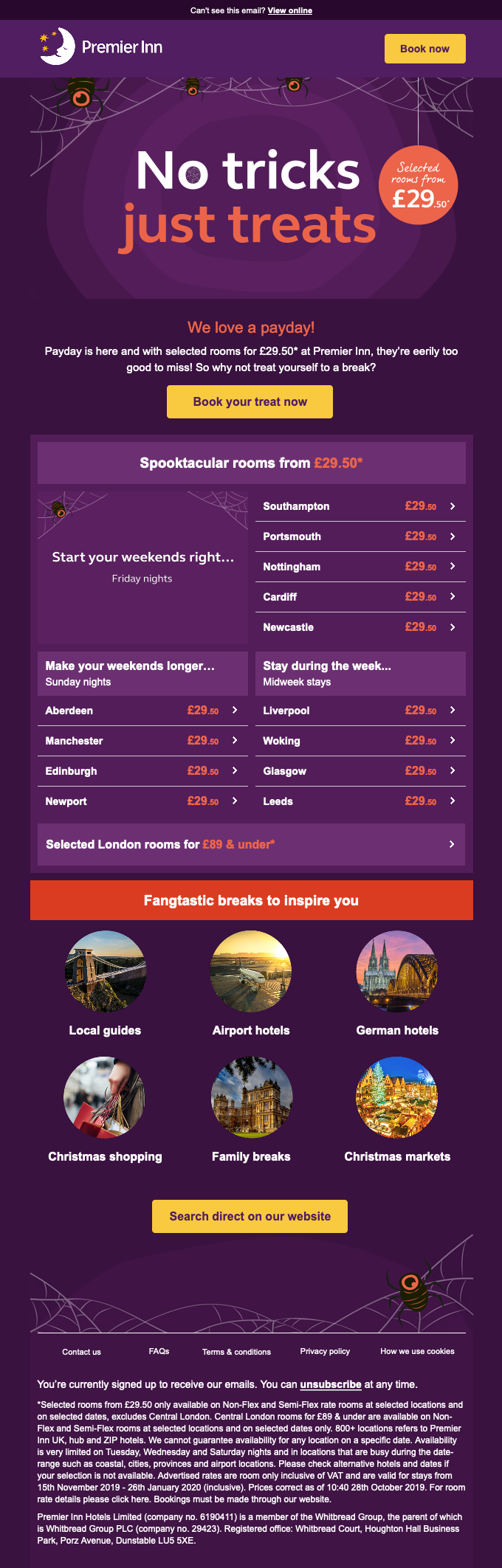 Halloween newsletter containing deals from Premier Inn.