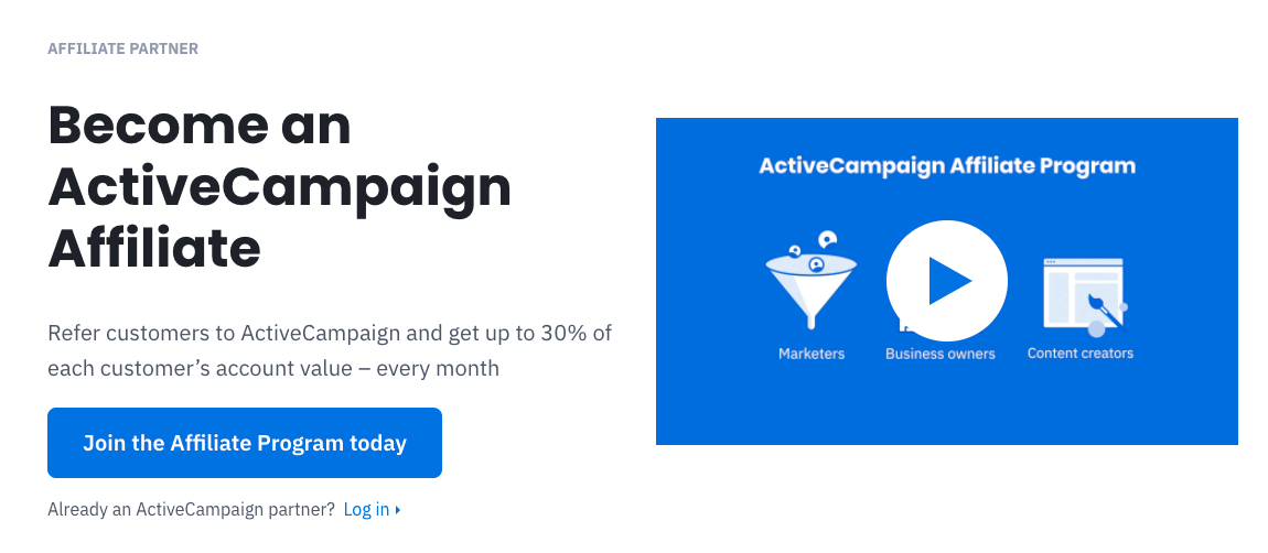 ActiveCampaign's affiliate program.