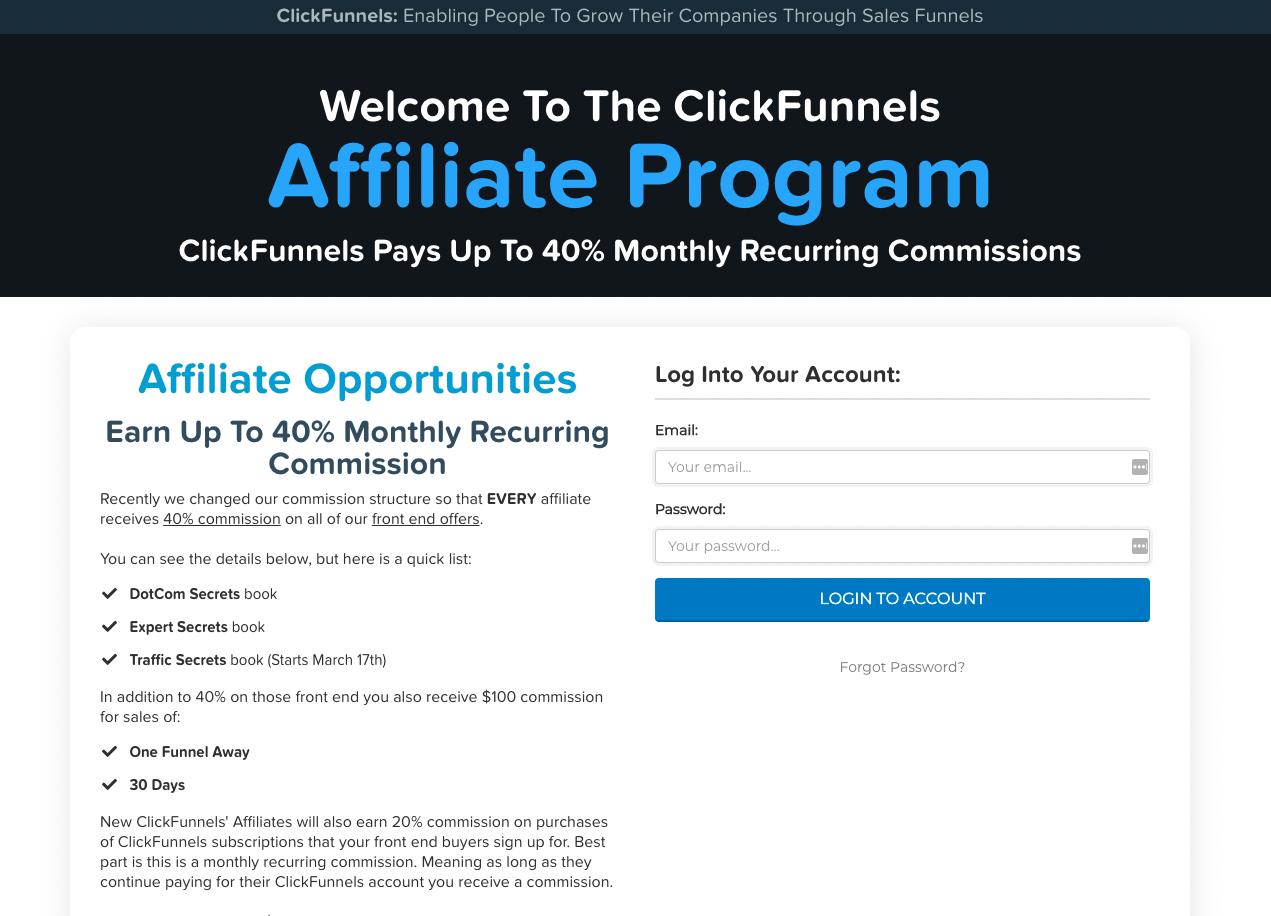 ClickFunnels affiliate program details.