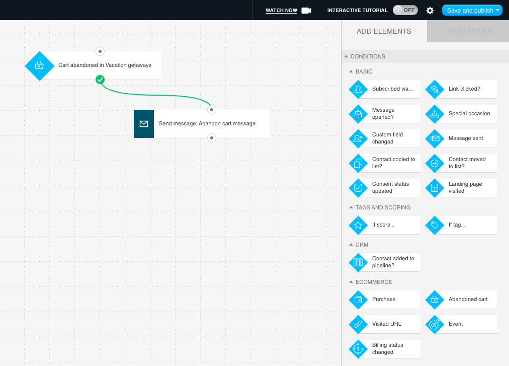 Cart abandonment flow in GetResponse Marketing Automation workflows.