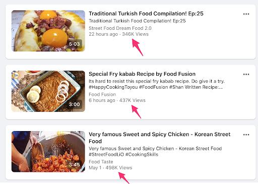 A screenshot of viral cooking videos on Facebook.