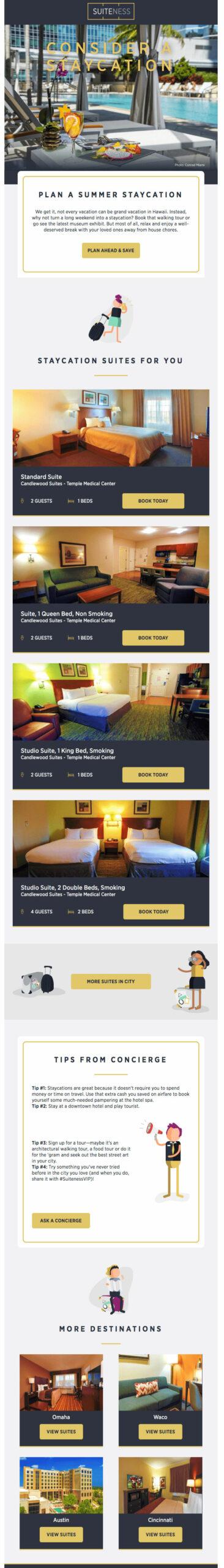 Рассылка от Suiteness с фотографиями летнего отеля и гостиничными комнатами